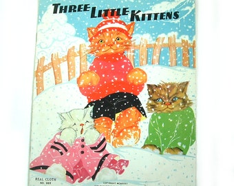 Three Little Kittens - Fern Bisel Peat - Real Cloth Book No. 985 - 1930s Vintage Childrens Book