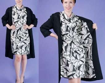 GRAPHIC MOD Vintage 60s Black White Print Dress Knit Coat / Jacket M/L