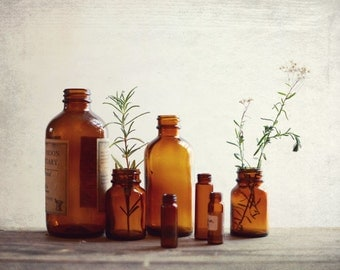 Still life photography - vintage bottles photography - brown sienna rustic kitchen wall art - fine art photography print 11x14  'Apothecary'