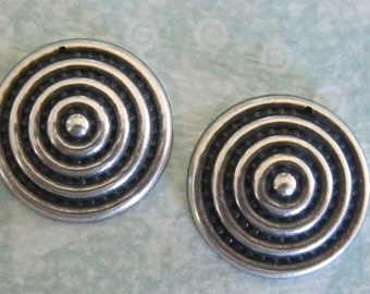 2 Silver Round Charms 3226