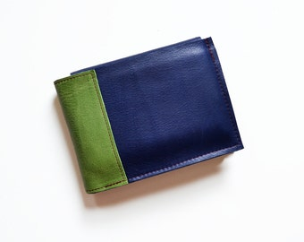 Leather ID Holder Wallet, Mens Bifold Wallet, Classic Billfold, Gift for Him with Monogram Option - The Wesley Wallet in Royal Blue