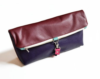 Leather Foldover Clutch / Oversized Clutch / Toiletry Bag - The Lulu Travel Foldover Clutch in Burgundy and Aubergine