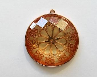 Vintage copper filigree faceted pendant . 50mm