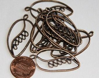 Bulk 50 pcs of  Antique copper plated  leaf pendant 20x39mm