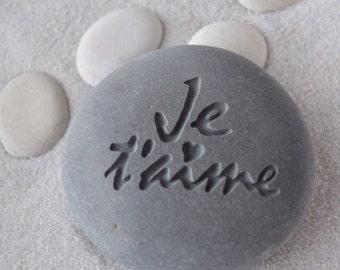 Je Taime - I love you - engraved beach stone ready to ship