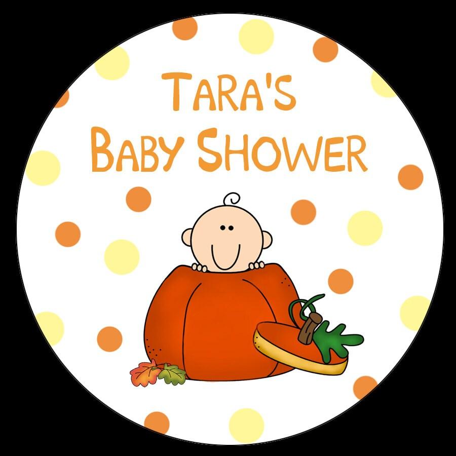 12 personalized round stickers little pumpkin baby shower