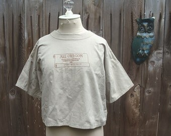Vintage 80s Calligraphy Conference Cropped T Shirt