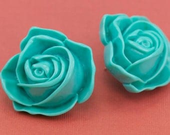 Big Chunky Turquoise Lucite Rose Post Earrings 40mm