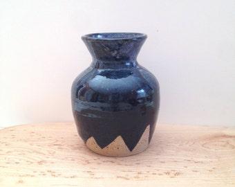 Black Mountain Ceramic budvase, purple and black pottery vase, speckled ceramic bottle sake bud vase, wheel thrown pottery bottle