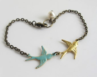 Couple Swallow Birds. Romantic Lovely Pair birds. Patina Antiqued Brass Bracelet Accessory. Bridal Wedding Love Valentines Gift. Friendship