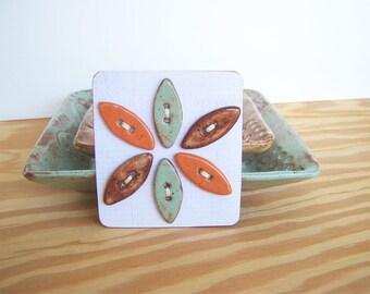 Rustic Stoneware Ceramic Leaf Buttons in Pistachio Green, Orange, and Shino Glazes - Set of 6