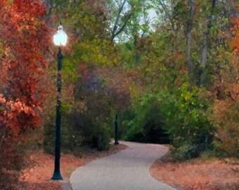 Autumn, NY, Central Park, Lanterns, Trees, Landscape, Nature Photograph, Fine Art, Painted Photograph, Seasonal Photography, Giclee Print