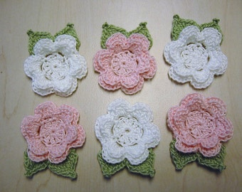Crochet Appliques Flowers 6 Irish Roses with Leaves Pink and White Roses