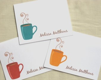 Custom Coffee Cup Note Cards - Set of 20 - Mix and Match Colors