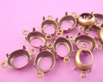 18 Brass Ox Oval Prong Settings 10x8 Connectors 2 Ring open Backs