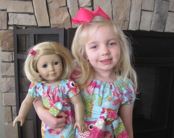 Matching Girl and American Girl Doll Clothes - Owls and Birds Peasant Dress