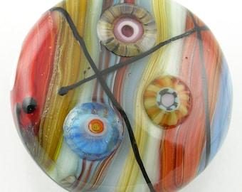 Red Blue Amber Cream Striped Handmade Lampwork Glass Focal Bead