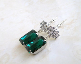 Emerald Green Earrings Foiled Octagon Stone Rhinestone Silver BE22