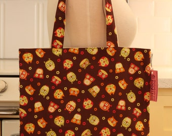Book Bag Tote Purse - Owls on Brown