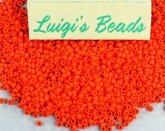 11/o Toho Seed Beads Opaque-Frosted Sunset Orange 15g - Use coupon code LUIGIS10 for 10% off