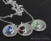mothers necklace, sterling silver, birthstone charms, mom gifts, grandma gift, nana gift, sister gift necklace, personalize gifts, blessings