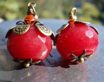 Pomegranate Earrings Persephone Cherry berry ruby red jade gemstone bead brass orange agate Nature Inspired Jewelry for women woodland wood