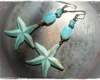 Starfish Fantasy extra long earrings turquoise verdigris patina brass star fish blue opal glass aqua water ocean blue mermaid women bronze