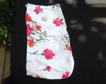 Vintage Vivid Red and Pink Floral Flowers Flour Sack Fabric Still a Bag Sack