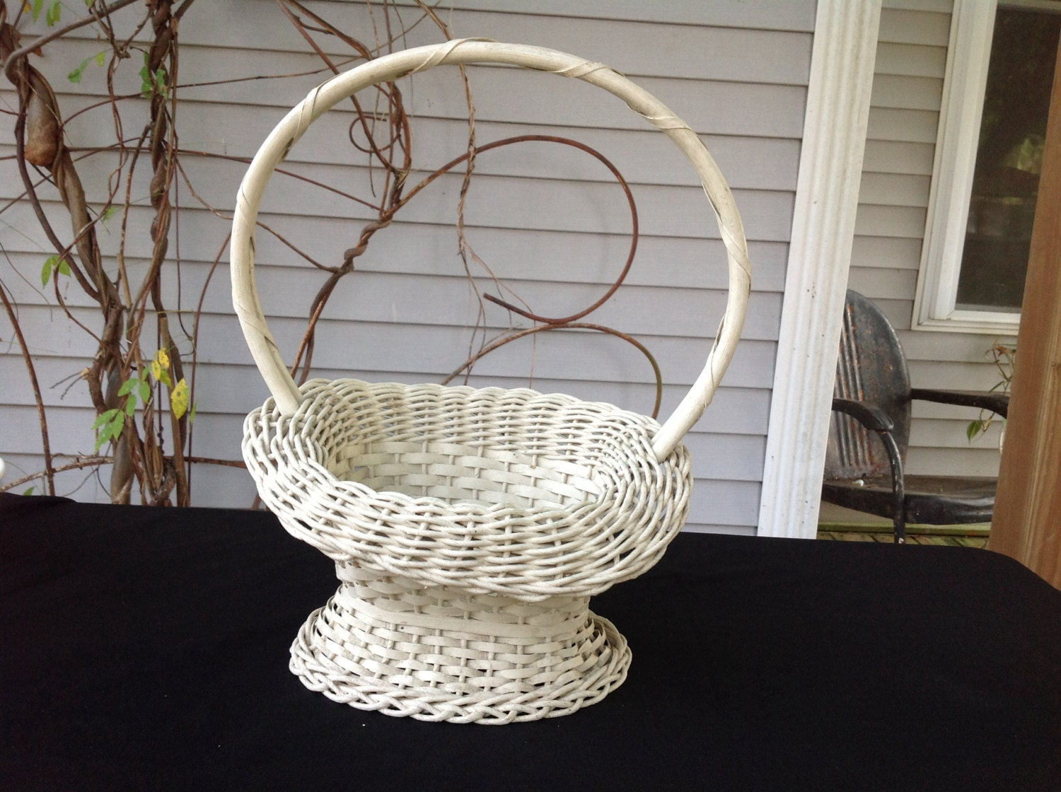 Rattan Flower Baskets : Vintage white wicker flower basket painted by