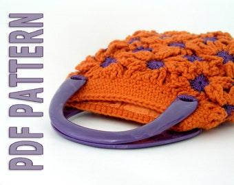 Funky crochet flowers bag - pdf pattern