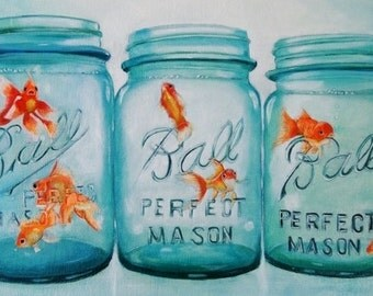 Antique Mason Jar Goldfish Fine Art Giclee Print