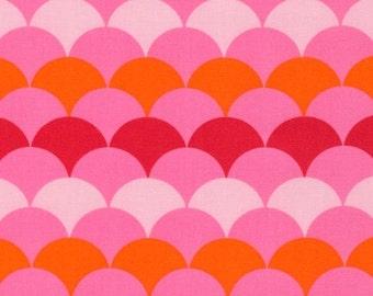 "1 yard 19"" HELLO TOKYO Pink Scallop Fabric by Robert Kaufman"