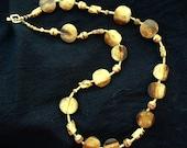 SALE, Long Light African Bone & Czech Glass Necklace