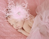 Pink Curly Ostrich Feather Puff with Sparkling Rhinestone Center on Silver Elastic Headband