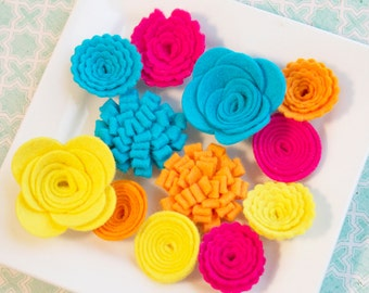 Wool Felt Flower Mix