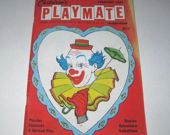 Vintage 1960s Children's Playmate Magazine for February 1967 with Clown on Cover