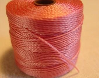 77 Yards pink beading cord string slightly waxed destash