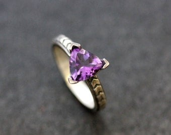Amethyst Purple Gemstone Chevron Ring in Sterling Silver, Triangle Pattern in Recycled Tarnish Resistant Silver