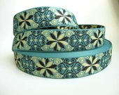 3 yards ICELANDIC Jacquard trim. Dark brown, ivory on dull teal. 1 1/2 inch wide. 960-A