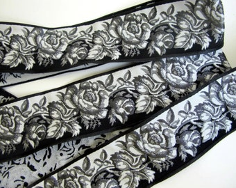 3 yards BLACK and WHITE ROSES Jacquard trim. Reversible trim. 1 3/4 inch wide.  962-a Steampunk, Diesel punk