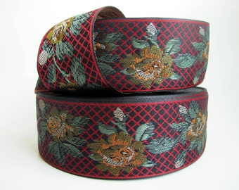LAKME, Jacquard trim. Red, green, tan, gold, ivory on black. 2 inch wide. 963-A