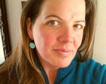 Robins Egg Blue Drop Earrings, Bright Blue Earrings, Dangle Earrings, Copper Enamel Jewelry, Nickel Free Kidney Earwires, Handmade Earrings