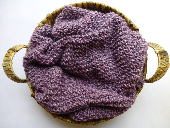 Soft as a Cloud Blanket - Lavendar - Hand knit baby blanket
