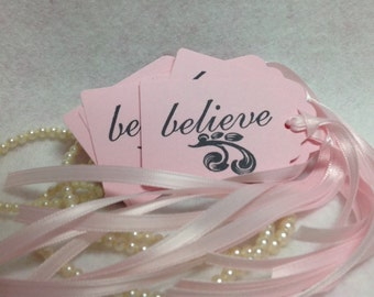 Set Of Eight Pink Gift Tags With Hand Stamped Believe