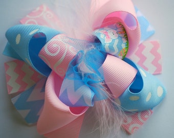 boutique MINI mod EASTER BUNNY hair bow clip
