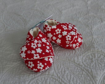 ON SALE Red Flowered Booties