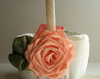 Flower Girl Basket  Handmade  Square ROSE In Peach Flowergirl  Ivory or White