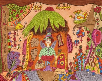"""Fairy Whimsical Folk Art Print """"There's No Place Like Home"""", Fantasy, Fairytale, Enchanted, Vibrant, Colorful. Flowers, Retro, Bird"""