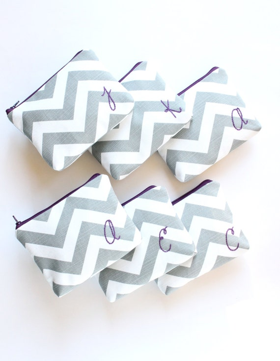 Monogrammed Cosmetic Bags, Personalized Bridesmaid Gift Set, Gray Chevron and Purple or Custom Colors