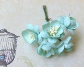 HANDMADE New Mint Blue, Turquoise 2 Layer Flowers with Cute Center -Bigger Size - 10 Stalks